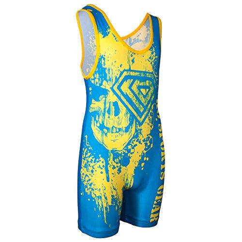 Singlet Wrestling Custom (KO Sports Gear GOLD AND BLUE SKULL Wrestling Singlet)