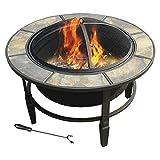 leisurelife™ 33'' Terni, Round Slate Top Fire Pit