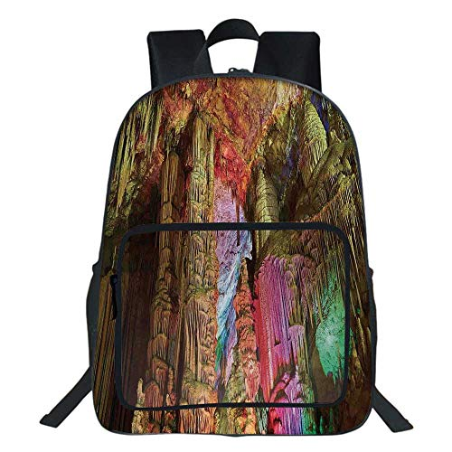 Natural Cave Decorations School Bag,Colorful Geological Cistern Rainwater Harvest with Luminous Reflections Picture For Teens Girls Boys ,11.8