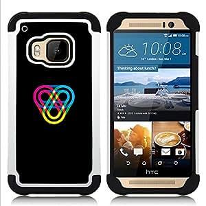 """HTC One M9 /M9s / One Hima - 3 en 1 impreso colorido de Altas Prestaciones PC Funda chaqueta Negro cubierta gel silicona suave (Color Track"""")"""