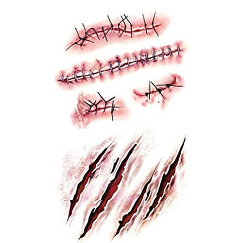 [HOT! 1Pcs Halloween Zombie Scar Tattoos Fake Scars Bloody Costume Makeup Halloween Decoration Horror Wound Scary Blood Injury Sticker] (Halloween Wound Makeup)