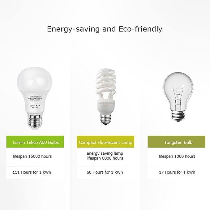 Bombillas LED E27 A60, Lumin Tekco Edison Globo Luz blanco calido 2700K 9W Equivalente a 60W, A60 820LM, Ángulo de haz de 220 grados, No Regulable, ...