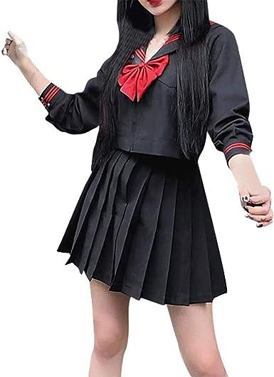 Camisa Cosplay De Color SóLido Falda Plisada con Lazo Vestido ...