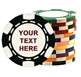 100 Custom Poker Chips, Imprinted with Your Personalized Text on One Side