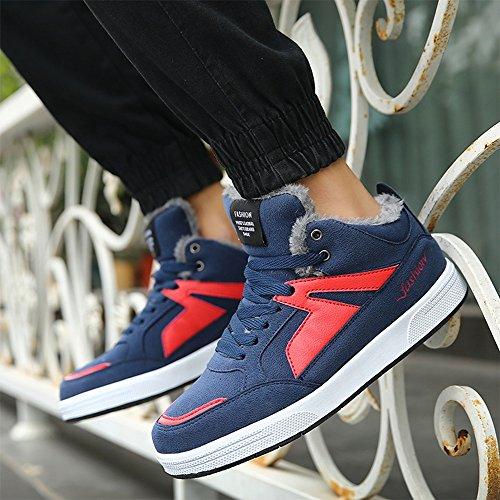 Men's Shoes Feifei Keep Warm Leisure Sport High Help Cotton Shoes 3 Colors (Color : Blue, Size : EU39/UK6.5/CN40)