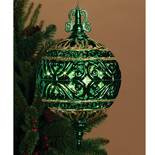 6 Inch Lighted Filigree Ball Christmas Frill Indoor Outdoor Decor - Prelit (Green)