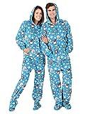Footed Pajamas Family Matching Polar Adult Hoodie Fleece Onesie - Medium Blue