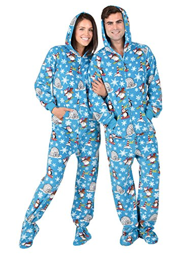 Footed Pajamas - Winter Wonderland Adult Hoodie Fleece Onesie - Large -