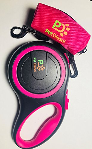 Retractable Dog Leash + Poop Bag Holder + Roll Of Poop Bag (3 Colors Choice) | Comfortable Leash For Walking Small, Medium & Large Dogs | Secure, Tangle-Free, One Button Break & Lock Handle (Pink)