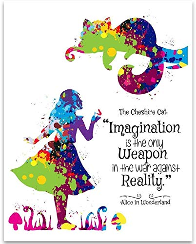 Imagination Is The Only Weapon - Alice and The Cheshire Cat - 11x14 Unframed Art Print - Great Gift for Disney Lovers, Also Makes a Great Gift Under $15 ()