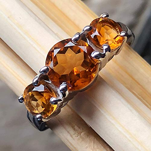 Natural 2.25ct Golden Citrine 925 Solid Sterling Silver 3-Stone Ring sz 7
