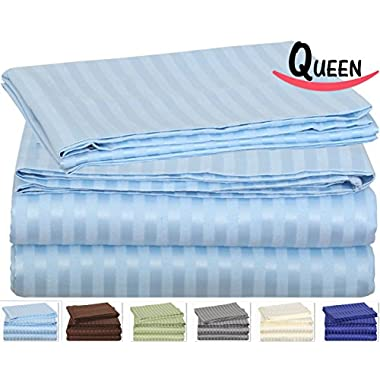 Queen Striped Bed-Sheet-Set- Brushed Velvety Microfiber -Luxurious, Comfortable, Breathable, Soft - Extremely Durable-Wrinkle, Fade-Stain Resistant- Hotel Quality by Utopia Bedding (Queen, Light Blue)