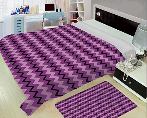 (Flannel Printed Blanket for Warm Bedroom,Teen Room Decor,Zigzag Background Motif with Symmetric Lines in Various Tones Image Decorative,Purple Lilac Black,One Side Printing,Excess Value)