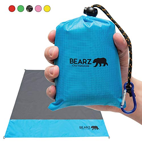 BEARZ Outdoor Pocket Blanket/Compact Beach Blanket 55″x60″ - Lightweight Camping Tarp, Waterproof Picnic Blanket, Festival Gear, Sand Proof Mat for Travel, Hiking, Sports - Packable w/Bag (Blue)