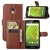 DROID MAXX 2 Wallet Case, Lwang Flip Folio Pu Leather Wallet Pouch Case Cover with Stand Card Slots for Motorola Moto X Play (leather brown)