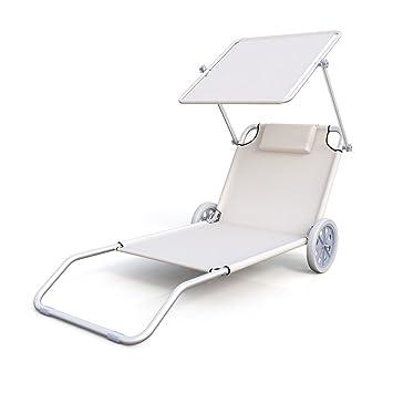 Tumbona de playa con ruedas tumbona con ruedas tumbona trolley plegable tumbona con ruedas y techo: Amazon.es: Jardín