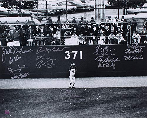 1969 NY METS TEAM SIGNED SHEA STADIUM 16x20 JONES CHARLES SHAMSKY SWOBODA OTIS +