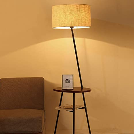 QIANGUANG Lámpara moderna de pie para trípode con estantes ...