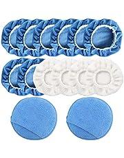 14 pcs Car Polisher Pad Applicator Pad, FineGood Microfiber Polishing Bonnet and Waxing Pad with Finger Pocket - Blue, White