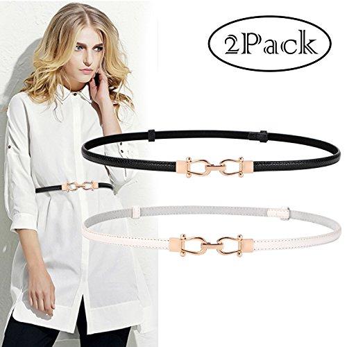 Belt White Genuine (Designed Skinny Belt for Dresses Up to Waist 36, Golden Buckle Women Thin Waist Belt Genuine Leather Black & White)