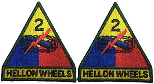 [Set 2 of 2nd Armored Division Hell on Wheels US Army Full Color Military Armed Forces DIY Applique Embroidered Sew Iron on Emblem Badge Costume] (Russian Costume Pattern)