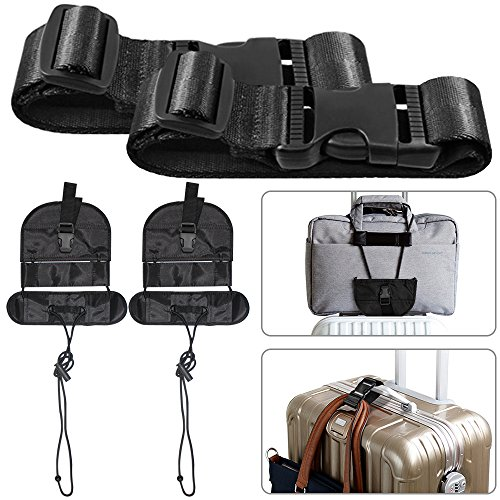 4 Pcs Add A Luggage Belt and Straps, AFUNTA Adjustable Travel Suitcase...