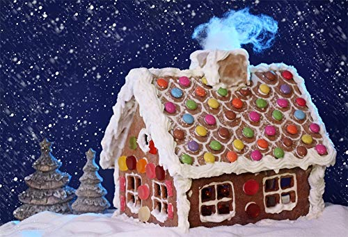 - Baocicco Homemade Gingerbread House Dreamy Snow Night Backdrop 10x8ft Photography Background Dark Sky Snowflakes Christmas Eve Sweet Decorations Children Party Happy Childhood