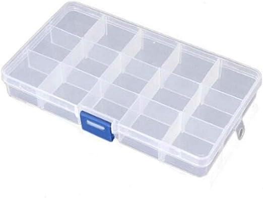 KJRJSN Caja de joyería de plástico (15 Rejillas) Recipientes de ...