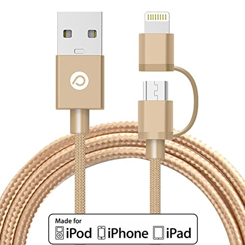 Power Trend MFI Certified 2M 6.6FT 2 in 1 Nylon Braided Cable USB to Lightning Cord for iPhone 7 / 6S / 6 Plus / SE / 5S / 5C / 5 / iPad / iPod and Other Smart Phones and Tablets (Luxury Gold)