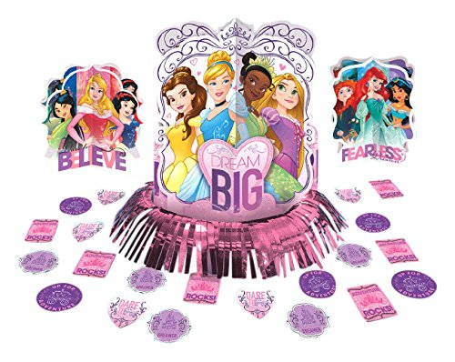 Amscan Disney Princess Dream Big Birthday Party Table Decorating Kit (4 Piece), Pink/Purple, One Size