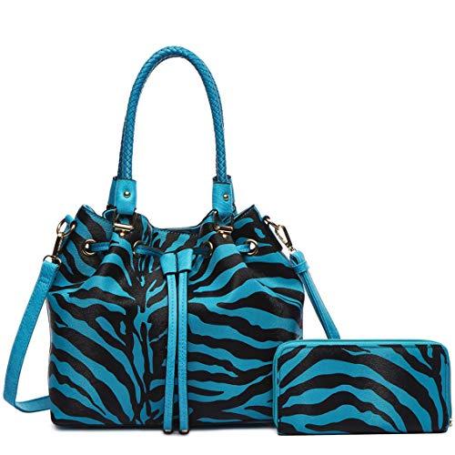 Zebra Stripe Pattern Drawstring Magnetic Purse Women Handbag Fashion Shoulder Bag Matching Wallet Set (Turquoise Set)