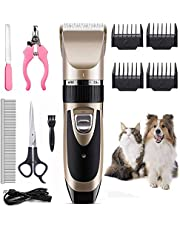 Arespark Pet Dog Grooming Clippers Shaver Professional Low Noise Rechargeable Cordless Hair Clippers with Comb for Small Medium Large Dogs Cats
