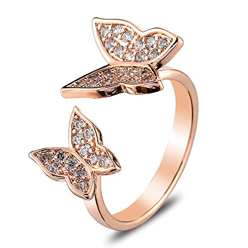 METTU Double Rhinestone Butterfly Finger Rings Open Adjustable Rose Gold Ring for Women