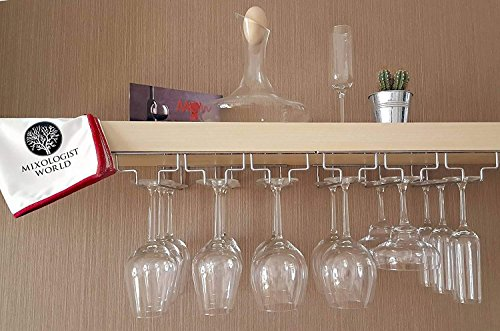 Hanging Stemware Holder (Wine Glass Rack Kit- Under Cabinet Stemware Holder Organizer More than for 18 Glass with Installation Hardware and Drying Bar Towel - Hanging Kitchen Storage Shelf Mounted | Bar Accessories Hanger)