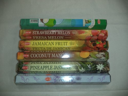 Tropical Incense (Hem Tropical Exotic Incense Set 6 X 20 = 120 Sticks Variety Gift Pack)