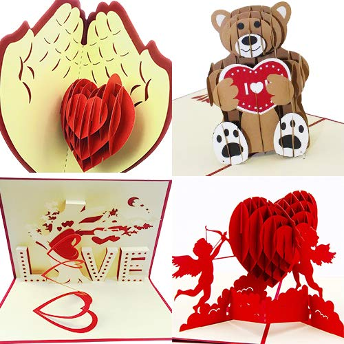 3D Valentines day Set of 4 Pop up Greeting Cards For Her or Him | Elegant & Personalized Heart Love | Unique & Romantic Handmade Card Designs | Ideal Gift for Boyfriend, Girlfriend, Husband & Wife (Valentines Cards Day Classic)