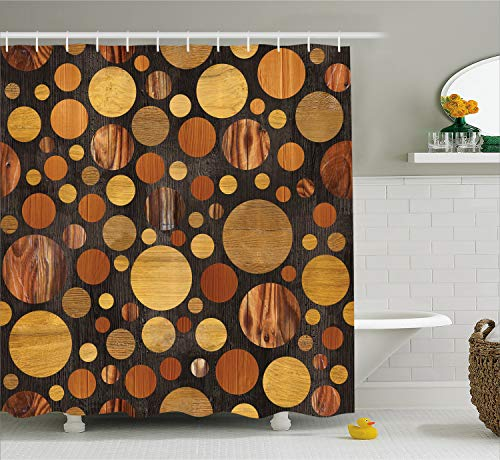 Ambesonne Wooden Shower Curtain Set, Bathrooms Sets Brown Wood Textures Abstract Pattern and Circles Timber Oak Natural Grain Print Western Theme Style Fabric Decor with Hooks, Brown