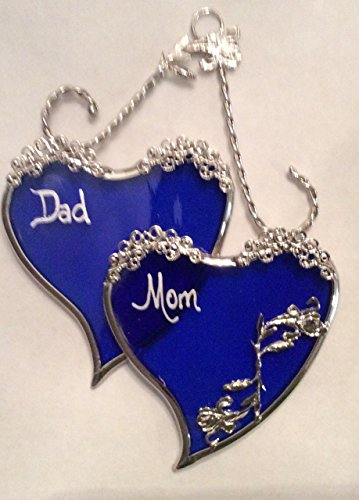 Sapphire Blue SweetHeart Gift for Mom and Dad- Silver Finish