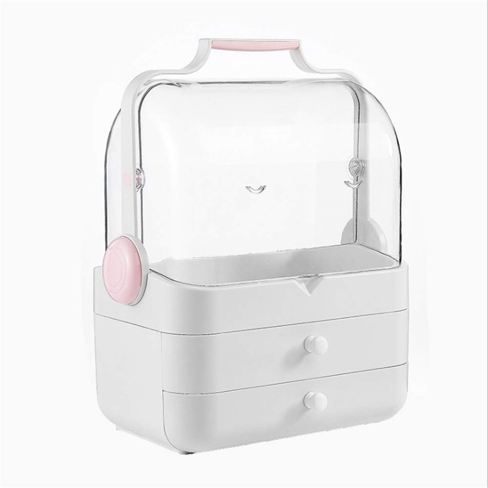 Jewellery Storage Box Elegant Portable Cosmetic Organiser Makeup Display Storage Stand Holder Box Jewelry Perfumes Lipsticks Divider Container With Handle Drawers Large Capacity For Dresser Bedroom Ba