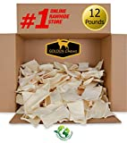 Golden Chews Natural Rawhide Chips – Premium Long-Lasting Dog Treats with Thick Cut Beef Hides (12 Pounds)