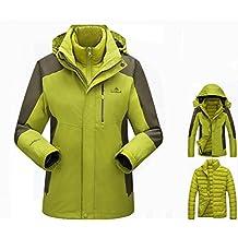 WE&ZHE Mountaineering clothing Winter Outdoor Venture Jacket Women's 3-in-1 Two-piece Detachable Waterproof Jacket with Pockets Ski Jacket Down jacket
