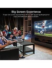 APEMAN mini proyector de video DLP LED, proyector portátil, soporte de batería integrada, 1080 P de bolsillo con HDMI MHL, salida de audio de entrada dual y bocinas estéreo integradas LED con una vida de hasta 25 000 horas