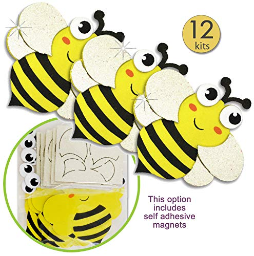 Bee Crafts For Kids - Bee Crafts for Kids Insect Magnet Craft Kits Self Adhesive Sticker Foam with Glitter Accents Spring Party Crafts Foam Bee Craft Supplies Bulk Value Craft Kits for Kids Bee Craft Decorations 12 Pk