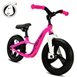 HAPTOO Kids No Pedal Bikes 12 Inches Magnesium Alloy Material Balance Bikes Portable Outdoor Sport Walking Bicycle for Girls and Boys for Ages from 2 to 6 Years Old