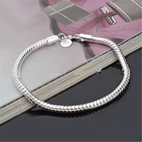 3MM 925 Sterling Silver Snake Chains Bracelet fit European Beads