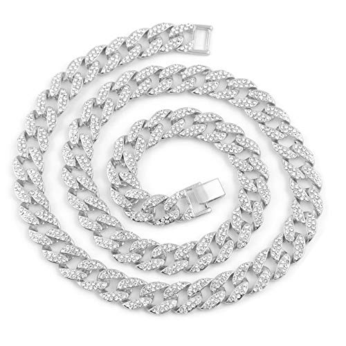 AOVR Hip Hop CUBAN LINK 15mm CZ CRYSTAL 14K Gold Plated Fully Iced-Out 18
