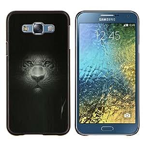 LECELL--Funda protectora / Cubierta / Piel For Samsung Galaxy E7 E700 -- Gran Retrato del gato Retrato Pintura Dibujo Leopard --