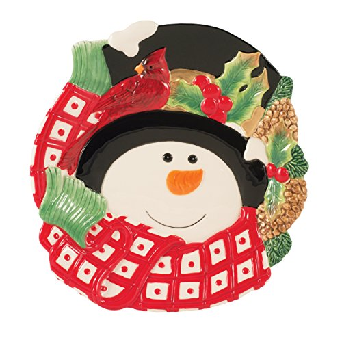 Holly Berry Snowman Collection, Canape Plate, Red/White - Plate Family Snowman