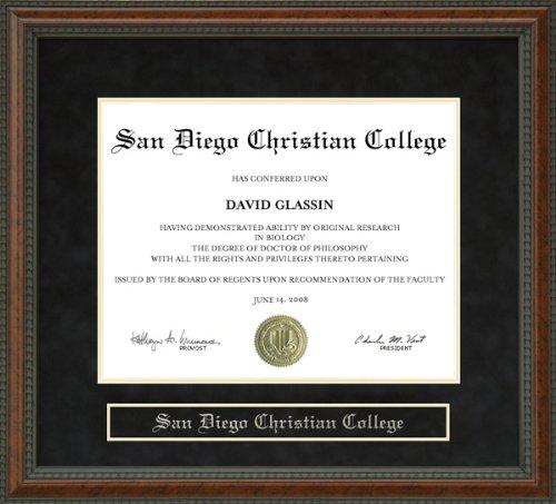 San Diego Christian College (SDCC) Diploma Frame - Burl by Wordyisms