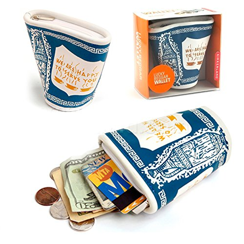 Kikkerland Lucky Beggar Wallet New York Coffee Cup Faux Leather Coin Card ()